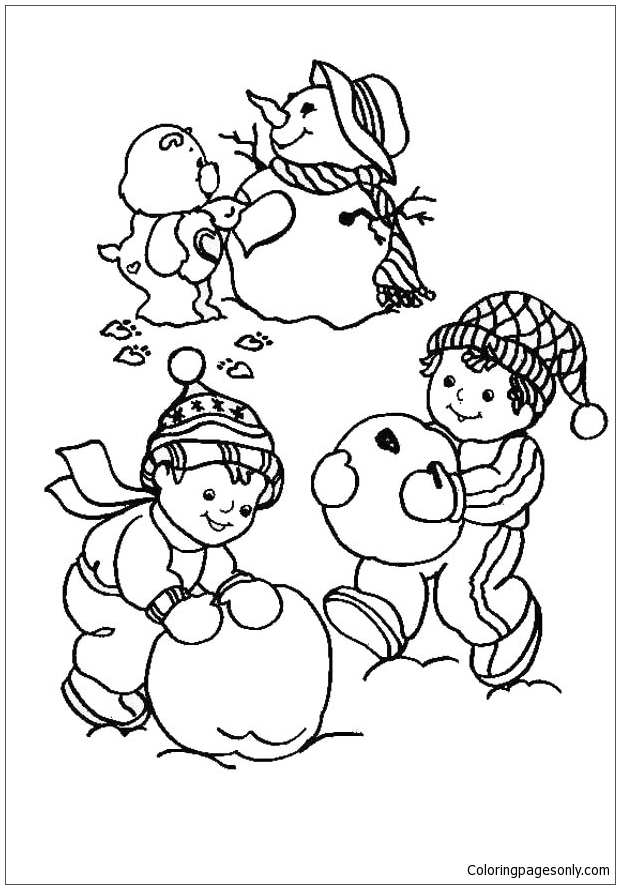 Care Bear And Snowman Coloring Page