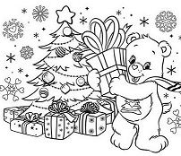 Care Bears On Christmas Day Coloring Page