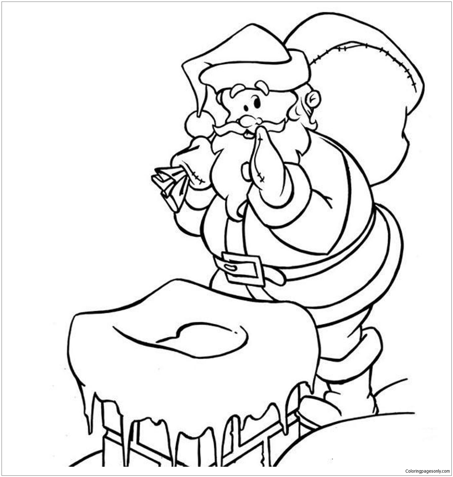 Careful Santa Coloring Page