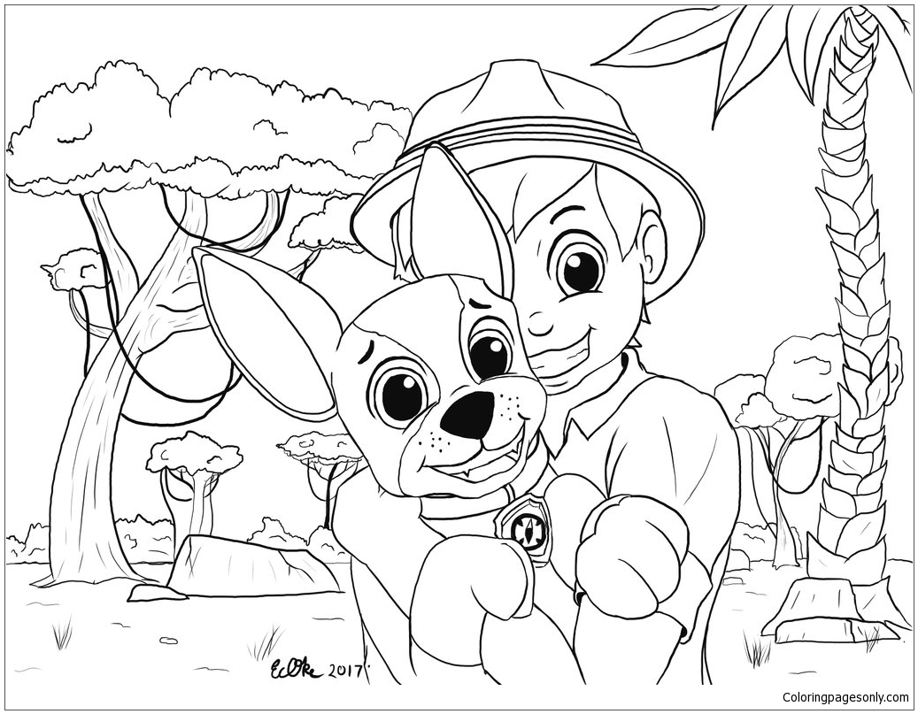 tracker paw pup patrol coloring pages sketch coloring page