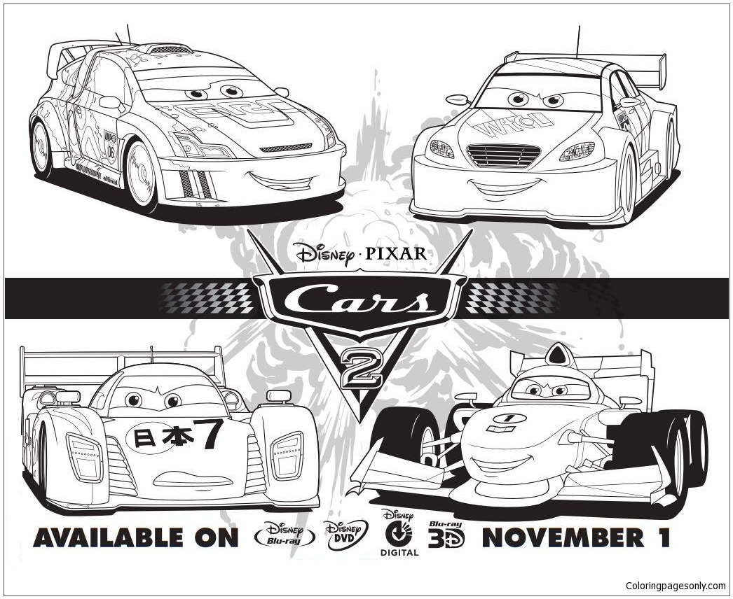 Cars 2 Disney Four Cars Coloring Page Free Coloring