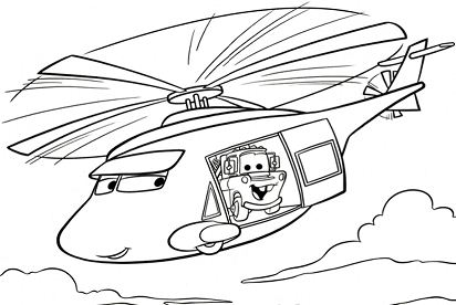 Cars In Helicopter Coloring Page