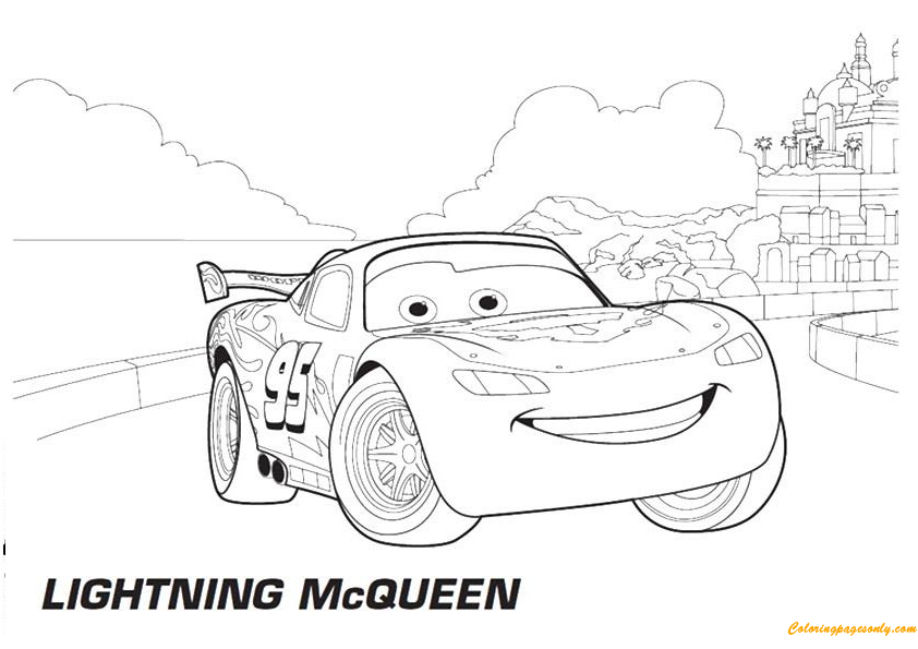 cars lightning mcqueen in city a4 disney coloring page