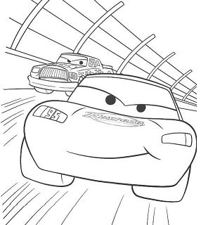 Cars Lightning McQueen Racing Coloring Page