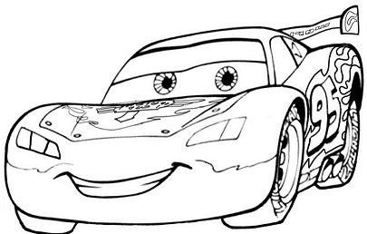 Cars Lightning McQueen Smilling Coloring Page