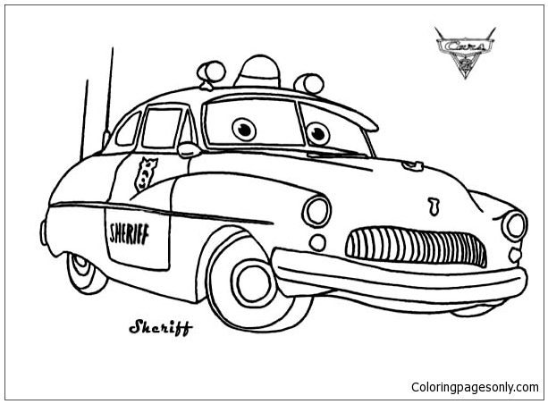 Cars Sheriff From Disney Cars Coloring Page