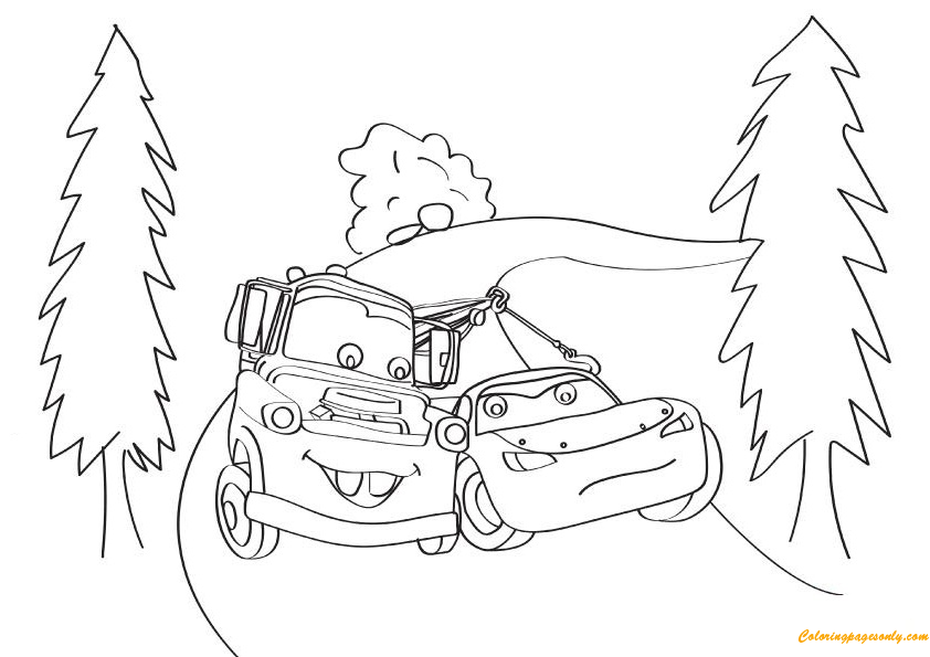 Cars The Lightning McQueen With Mater 16 Coloring Page