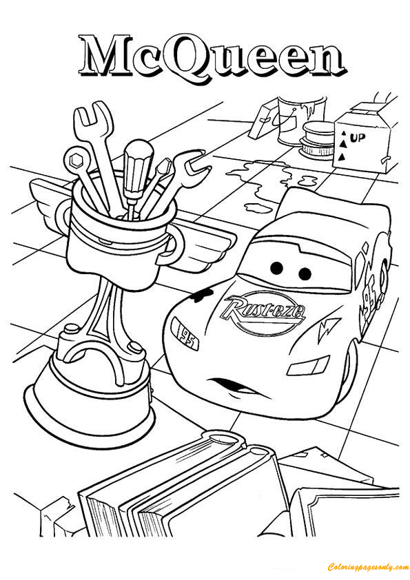 cars the surprised lightning mcqueen coloring page