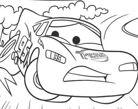 Cars The Zooming Off The Track A4 Coloring Page