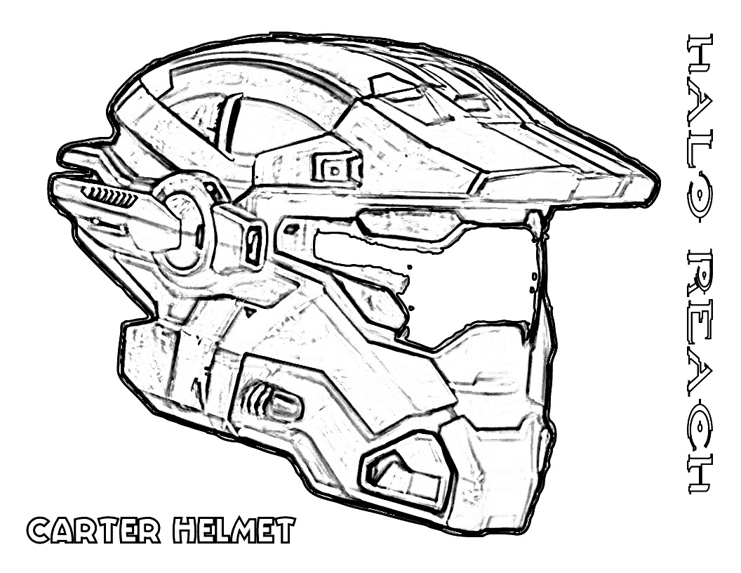 Carter Helmet Halo Coloring Page