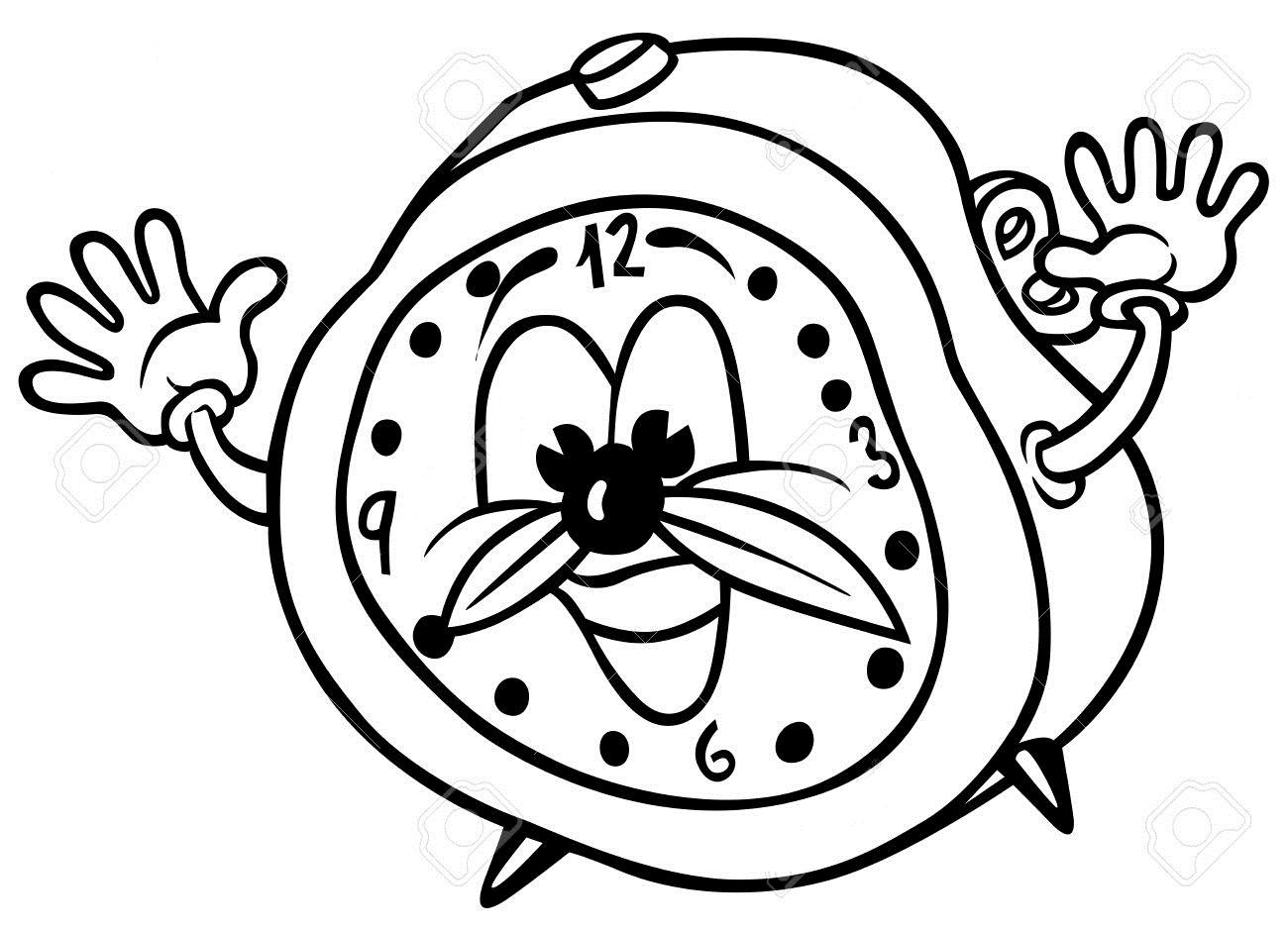 Cartoon Alarm Clock Coloring Page