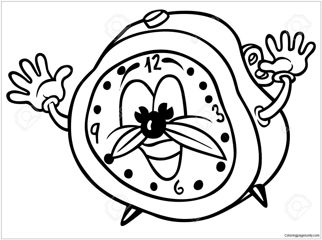 Cartoon Alarm Clock Coloring Page