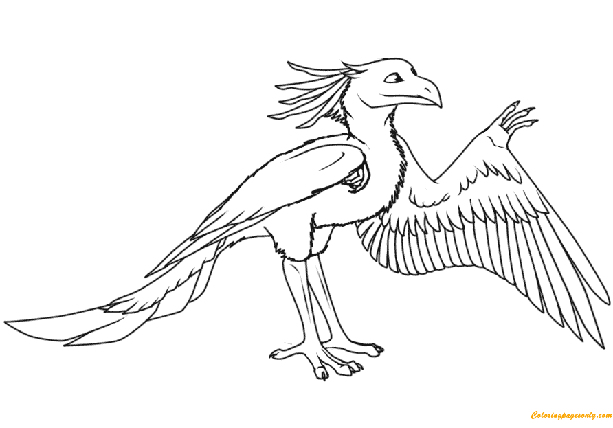 Cartoon Archaeopteryx Dinosaurs Coloring Page