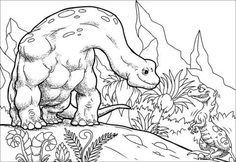 Cartoon Bronrosaur Apatosaur Coloring Page