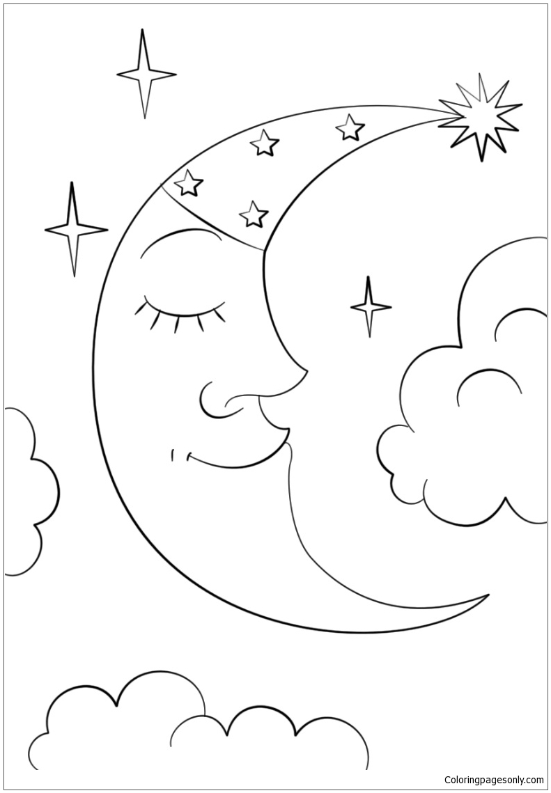 Cartoon Crescent Moon Coloring Page