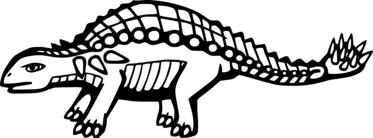Cartoon Funny Ankylosaurus Coloring Page