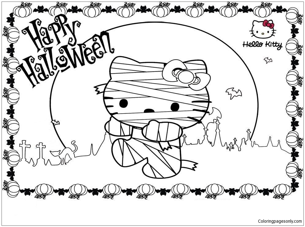 Cartoon Of Hello Kitty Halloween Coloring Pages