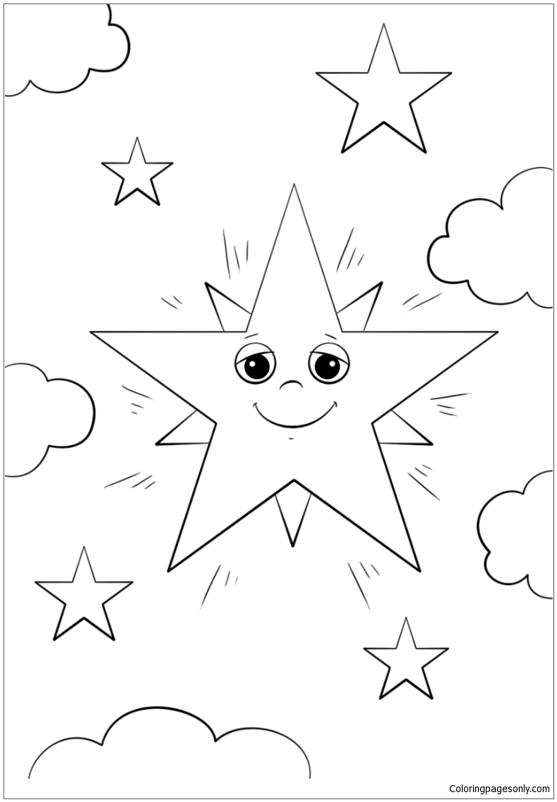 Cartoon Star Character Coloring Page