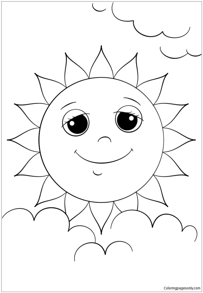Cartoon Sun Character Coloring Page