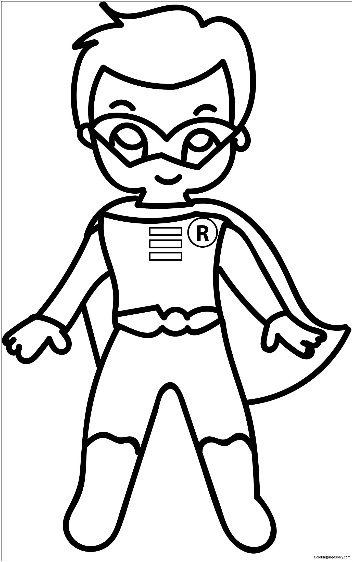 Cartoon Superhero Coloring Page - Free Coloring Pages Online