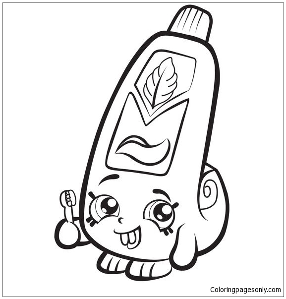 Cartoon Toothpaste Shopkins Coloring Page