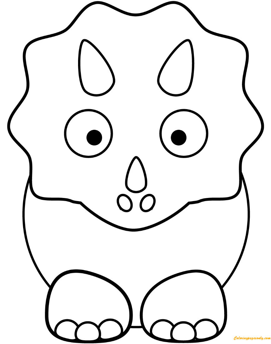 Cartoon Triceratop From Dinosaurs Coloring Page