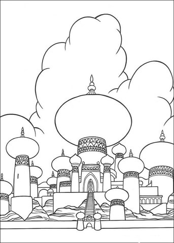 The Sultan's Palace from Aladdin Coloring Page