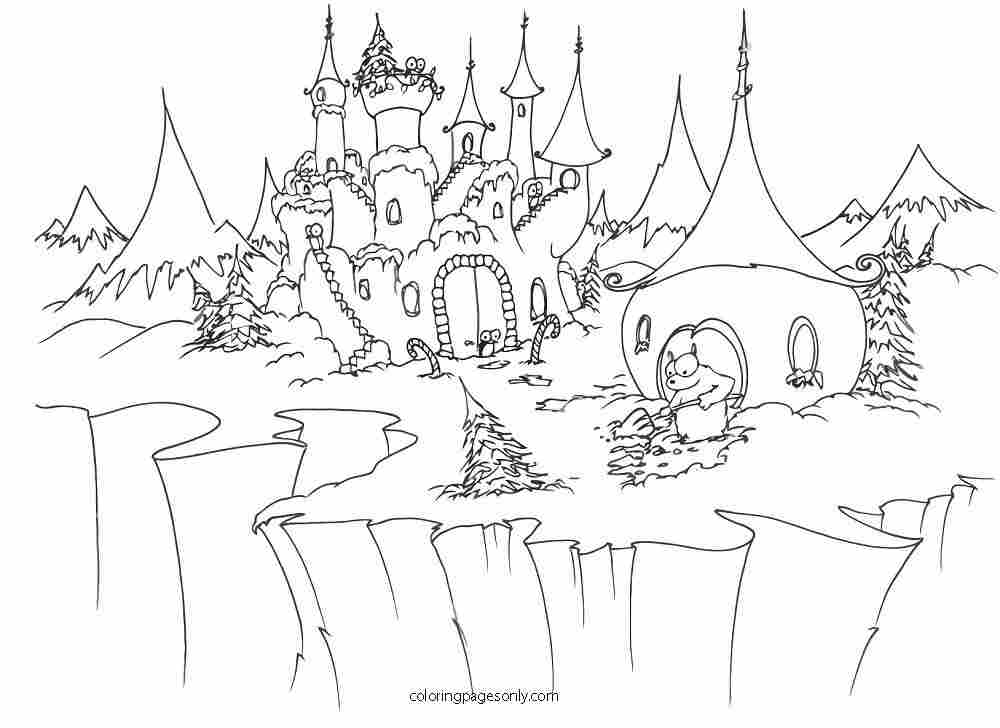 Castle in the Arctic at christmas time Coloring Page