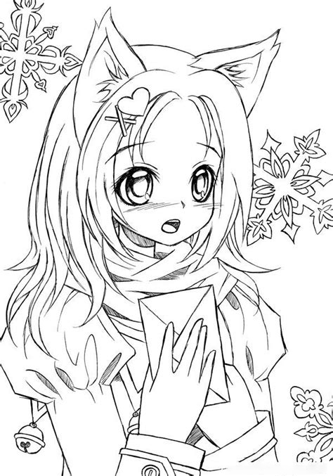 Cat girl has got a letter Coloring Page
