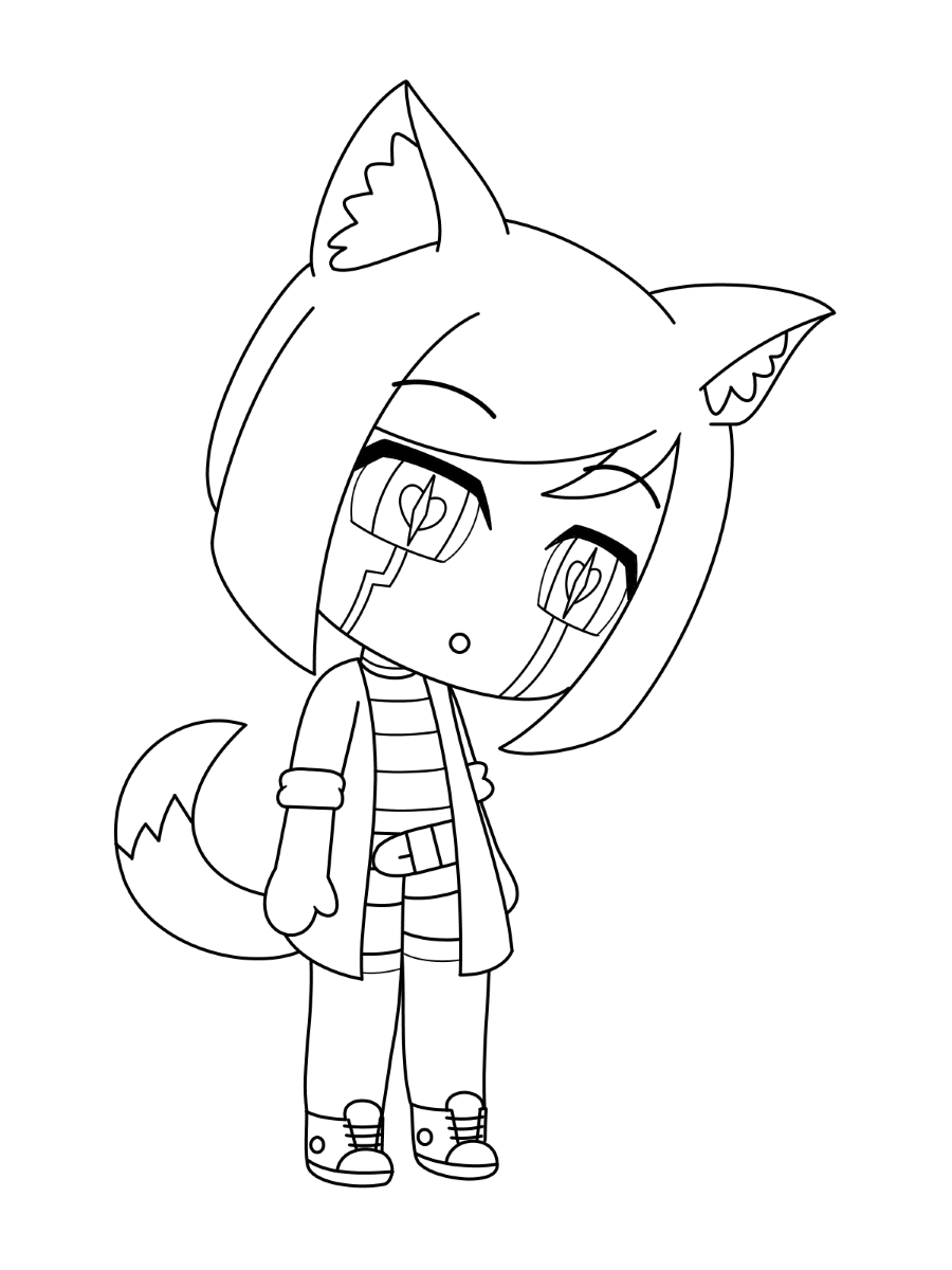 Cat girl is so sad Coloring Page