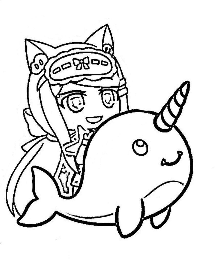 Cat girl wears a sleep mask and unicorn dolphin Coloring Page