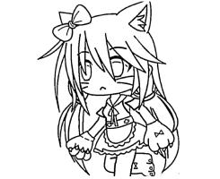 Cat girl with a thick long hair Coloring Page