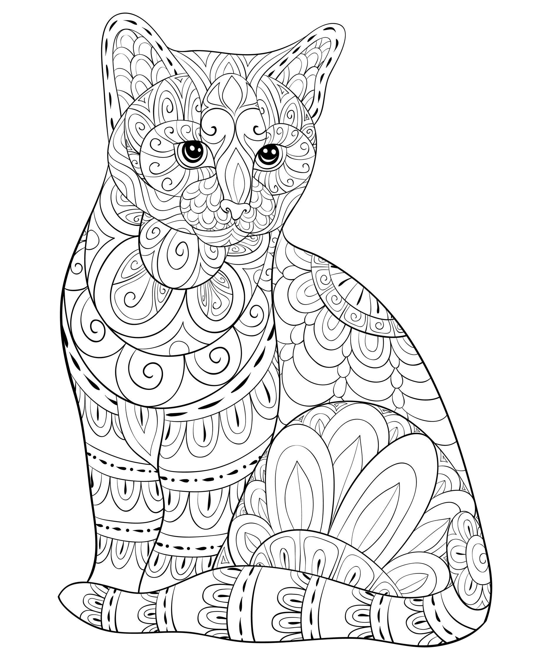Cat in details Coloring Page