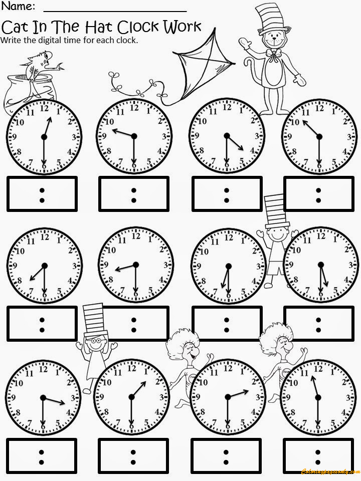 cat in the hat clock 2 coloring page