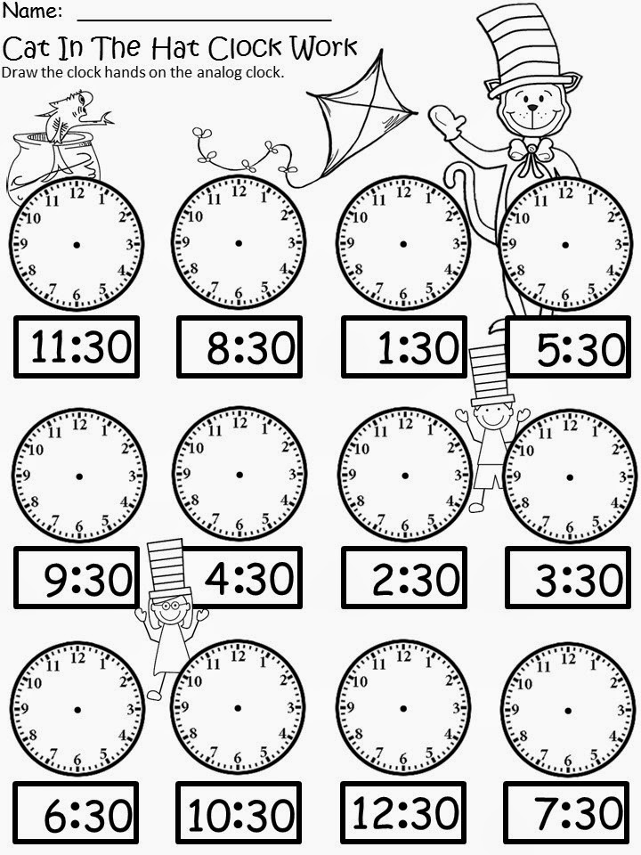 Cat In The Hat Clock 3 Coloring Page