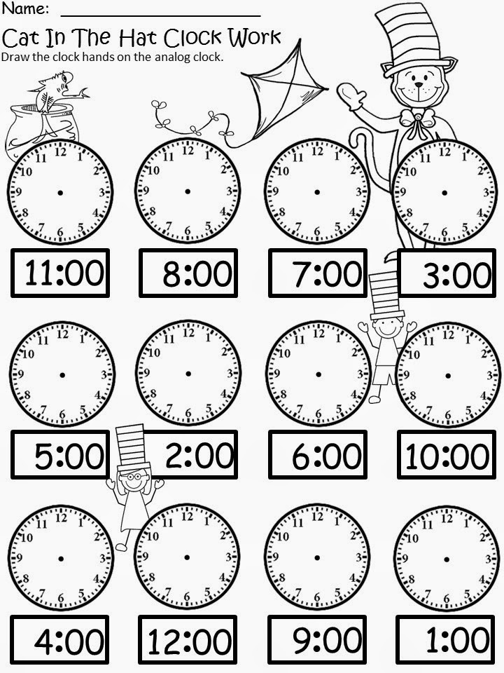 Cat In The Hat Clock Coloring Page