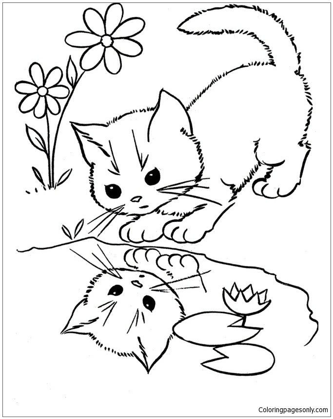 Cat Looking At The Water Coloring Page
