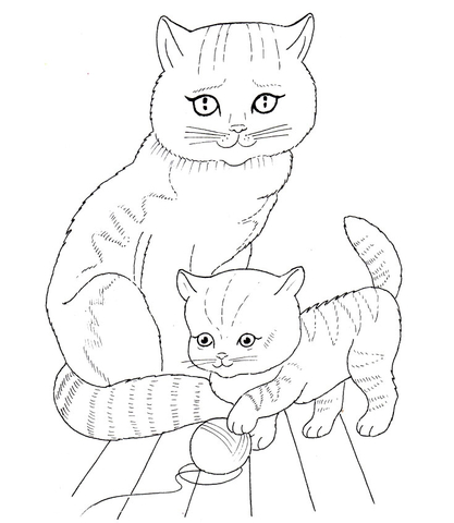 Cat Mother and Kitten