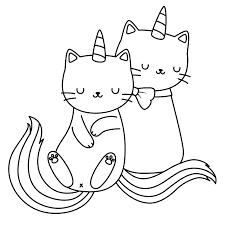 Cat Unicorn bestfriend Coloring Page