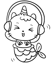 Cat Unicorn Mermaid With Headphone Coloring Page