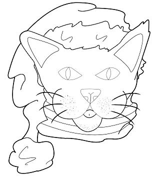 Cat With Santa Hat Coloring Page