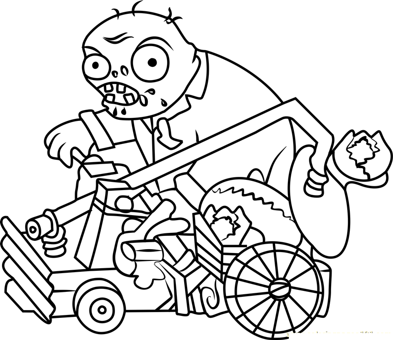 Catapult Zombie Coloring Page