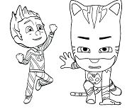 Catboy And Romeo Mask Coloring Page