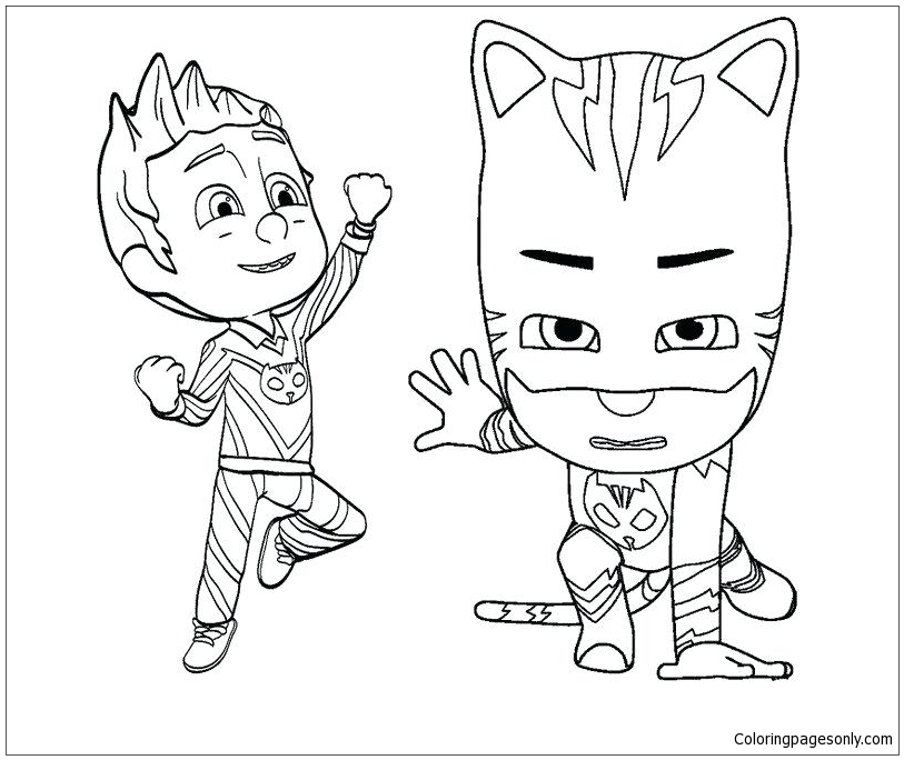 Catboy And Romeo Mask Coloring Pages - PJ Masks Coloring Pages - Free Printable  Coloring Pages Online
