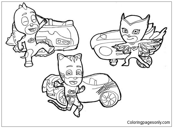Catboy Owlette And Gekko From Pj Masks Coloring Page Free