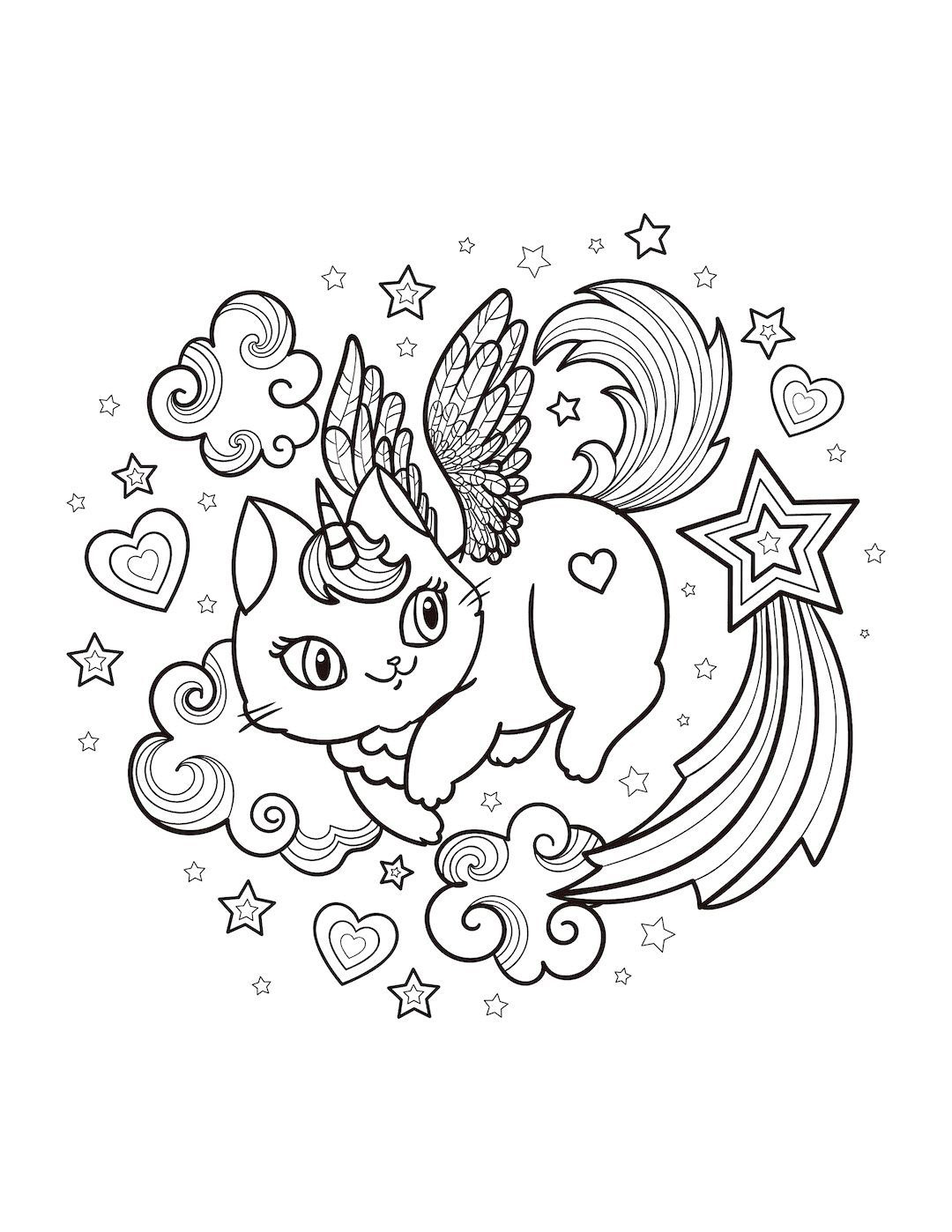 Caticorn flying Coloring Page