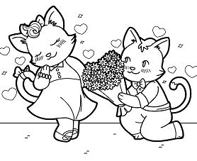 Cats In Love Coloring Page