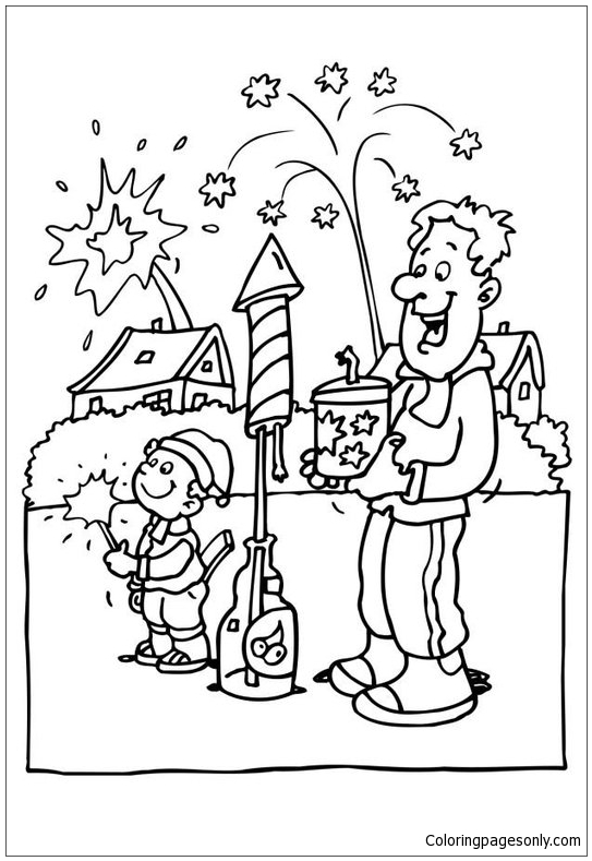 Celebrating New Year S Eve Coloring Page
