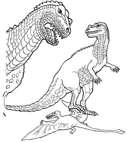 Ceratosaurus And Pteranodon Coloring Page