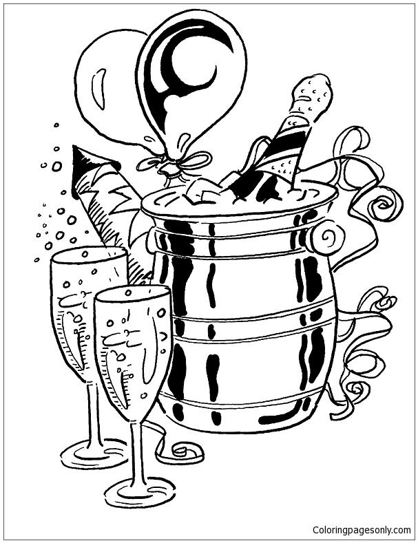 Champagne With Glasses And Balloons Coloring Page